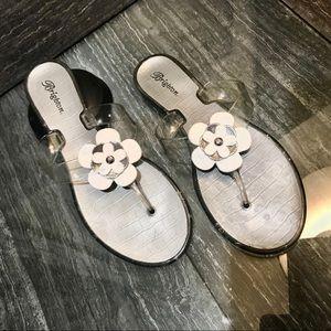 Brighton  silver & white flower petal flip flops